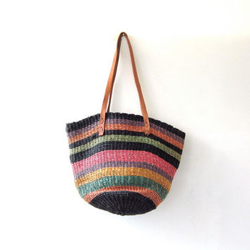 vintage market bag. woven jute shoulder purse. colorful basket purse with leather straps