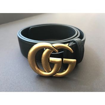 Wide leather belt with Double G Buckle Gucci Size (80)