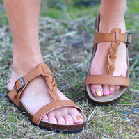 Braided Bork Sandals {Tan}