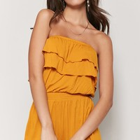 Strapless Tiered Flounce Romper
