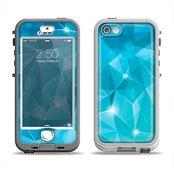 The Vector Shiny Blue Crystal Pattern Apple iPhone 5-5s LifeProof Nuud Case Skin Set