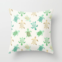 Gilded Jade & Mint Turtles Throw Pillow by Tangerine-Tane