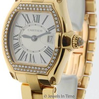 Cartier Roadster 18k Yellow Gold & Diamonds Silver Dial Ladies Quartz Watch 2676