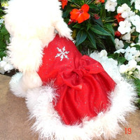 Dog Dress Satin Sparkle Ice Winter Dog Dress with a crystal snowflake and fur trim dog clothes