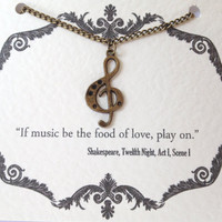 Music Treble Clef Necklace - Shakespeare Quote