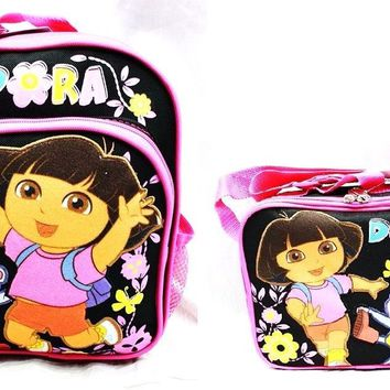 "Dora Kids 10"" Canvas Black & Pink School Backpack w/Insulated Lunch Bag"
