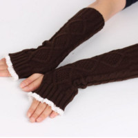 Half Fingers Lace Trim Gloves Wool Long Warmer Half Fingers B0014148