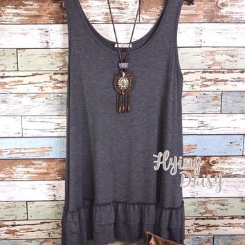 Plus Size Ruffle Sleeveless Tunic Top - Grey
