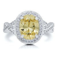 Sterling Silver 925 Oval Cut Canary Cubic Zirconia CZ Cocktail Ring #r541