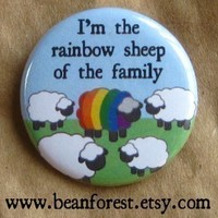 rainbow sheep of the family - pinback button badge