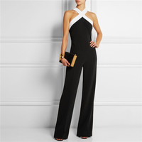 Fashion sexy Black white stitching Sling Halter waist jumpsuit pants coveralls