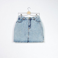 80s BOBOS Acid Denim Skirt / Made in Italy / High Waisted Women Mini / Size L - XL