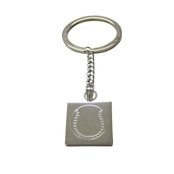 Silver Toned Etched Baseball Keychain