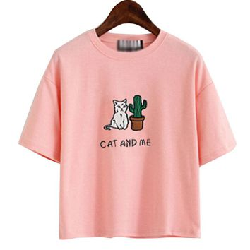 2017 Harajuku Summer T-shirts Cute Cat and me printed Top Women Short Sleeve Japanese Style T Shirt Women Tee