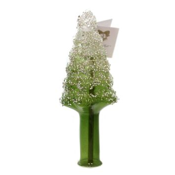 Golden Bell Collection GREEN TREE TREE TOPPER Glass Hand Painted Tt465