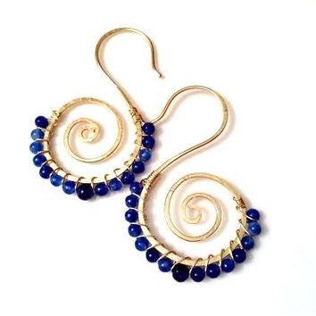 Dark blue apatite stones wire wrapped around 14k gold filled swirl seahorse shaped earrings
