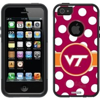 Coveroo Virginia Tech Polka Dots Design Phone Case for iPhone 5/5s - Retail Packaging - Black