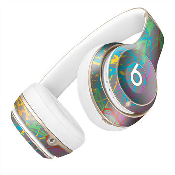 Rainbow Splattered Paint Canvas Skin for the Beats By Dre Headphones