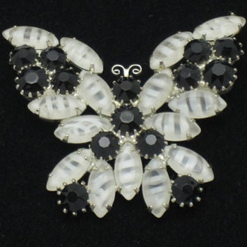 Vintage Givre Glass Rhinestone Figural Butterfly Pin Brooch Gorgeous