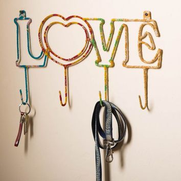 "Recycled Sari Wrapped ""Love"" Hook"