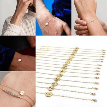 1 PC  Women  Anklet Fashion 26 Letters Personality Initial Wristband  Girl A-Z Adjustable Bracelet Simple Golden Jewelry Gift