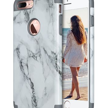 iPhone 7 Plus case, Marble iPhone 7 Plus case, ULAK Slim Heavy Duty Cases Dual Layer Shock-Absorption Hybrid TPU Rubber Bumper Hard PC Protective Cover for Apple iPhone 7 Plus-Marble Pattern