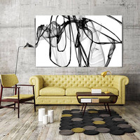 """Abstract Expressionism in Black And White 17, Contemporary Abstract Wall Decor, Large Contemporary Canvas Art Print up to 72"""" by Irena Orlov"""