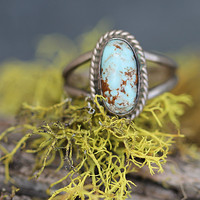 Dry Creek Turquoise Ring Navajo Boho Sterling Silver