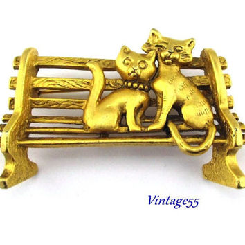 Cat Brooch Park Bench Lovers Feline