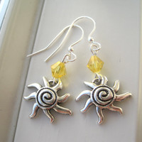 Sun Earrings - Sun Jewelry - Yellow Earrings - Yellow Jewelry - Summer Earrings - Summer Jewelry - Bright Jewelry - Hot - Charm Earrings