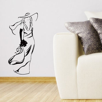 Wall Vinyl Sticker Decal Elegant Bride with Bouquet  Art Design Room Nice Picture Decor Hall Wall Chu999