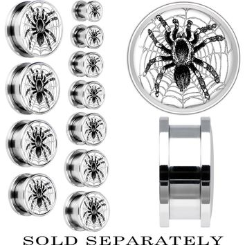 Steel Monochrome Webbed Tarantula Spider Screw Fit Plug