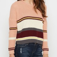 Pink Striped Crop Sweater By Clover + Scout® | Sweaters | rue21