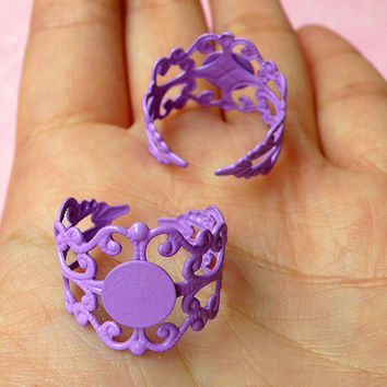 Filigree Ring Base Findings with 8mm Pad (2 pcs / Purple) Adjustable Ring Blank Jewellery Making Jewelry Findings Ring Making Supplies F044
