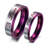 """Love Token"" Purple SS Couples Rings - C-RIN-1050"