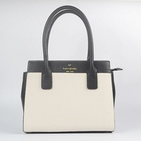 Hot Sale Kate Spade Fashion Shopping Leather Tote Handbag Shoulder Bag Color Off White & Black