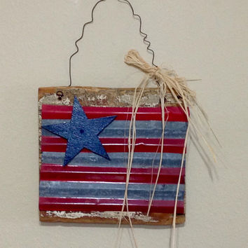 Americana Tin Flag Reclaimed Wood Signs, barn wood style flag, distressed flag, primitive flag