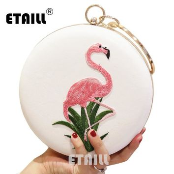 ETAILL Bird Embroidered Round Box Ladies Evening Bag Female Crossbody Bags For Women Party Day Clutches Purse Wedding Dinner Bag