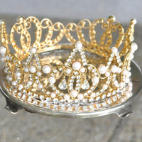 Vintage Jeweled Crown Rhinestone and Pearl