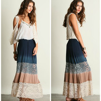 Lila Lace Inset Boho Ombre Maxi Skirt