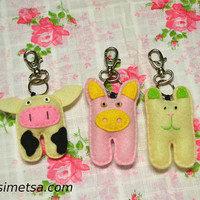 Felt Animal Keychain -  Handmade Big Animal Key Ring - Pig Key Ring - Bear Key Ring