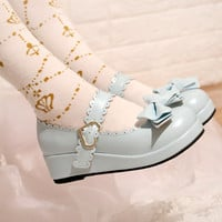 Women Light Blue Lolita Wedges Pentagram Embellished Bow Shoes With Buckle Straps Japanese Style Wedge Heel PU Leather Pumps