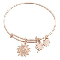 Expandable Bangle Bracelet Sun Charm Rose Gold Plate