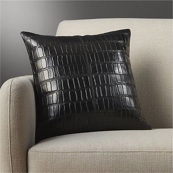 "16"" black leather croco pillow"