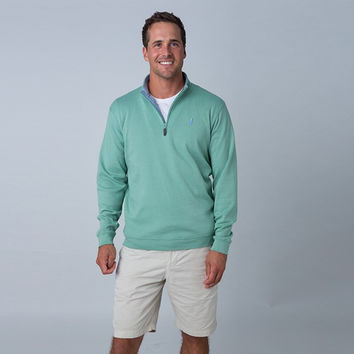 1/4 Zip Pullover in Eucalyptus Green by Johnnie-O