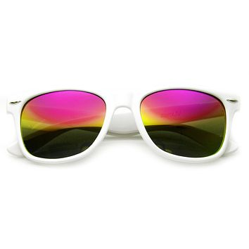 Retro Horn Rimmed Sunglasses With Flash Mirrored Lenses 8075- White Rainbow