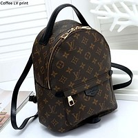 LV tide brand men and women models wild classic old flower checkerboard backpack backpack Coffee LV print