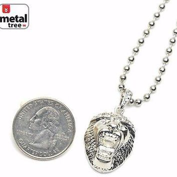 """Jewelry Kay style Men's Hip Hop Iced Out Lion Head Pendant 20"""" Ball Chain Necklace Set MMP 811 S"""