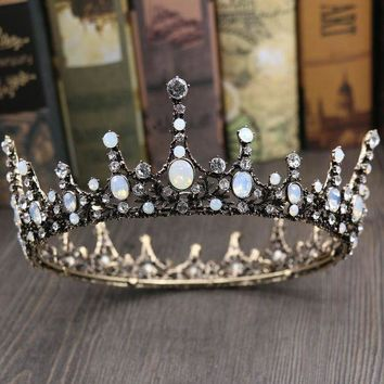 ESBONFI Jonnafe Vintage Opal Crystal Big Tiara Wedding Crown Baroque Bridal Hair Jewelry Accessories Women Round Tiaras Headwear
