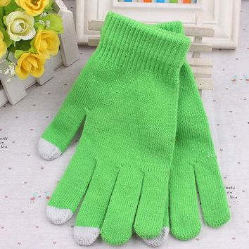 1 Pair Women/Men Touch Screen Gloves Fashion Wrist Casual Gloves Tablet Warm Knit Winter Mitten For Smart Phone
